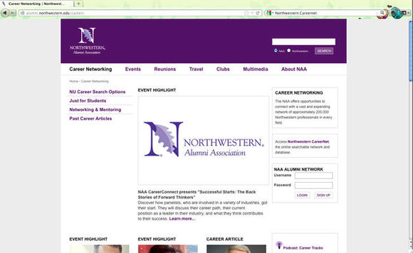 University almuni websites like Northwestern's CareerNet can be valuable in the job hunt.