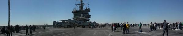A panoramic view of the USS Enterprise as the ship departs Jacksonville, Fla. for Naval Station Norfolk Friday.