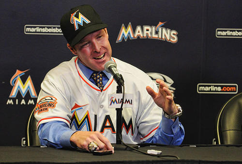 Former Marlins catcher Mike Redmond is introduced during a press conference at Marlins Park in Miami on November 2, 2012.