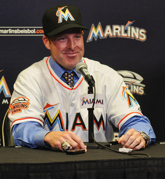 Former Marlins catcher Mike Redmond is introduced during a press conference at Marlins Park in Miami Friday November 2, 2012.