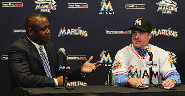 Former Marlins catcher Mike Redmond is introduced during a press conference at Marlins Park in Miami Friday November 2, 2012. General Manager Michael Hill talks about their decision to hire Redmond.