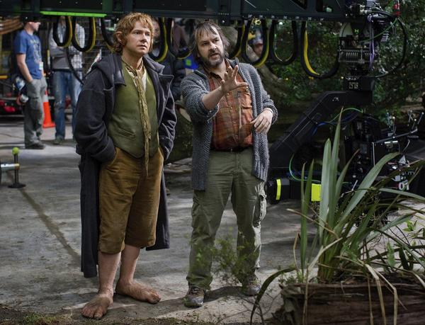 "Martin Freeman, left, and Peter Jackson on the set of ""The Hobbit."""