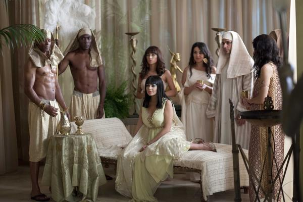 "Lindsay Lohan (center) as Elizabeth Taylor as Cleopatra in ""Liz & Dick."""