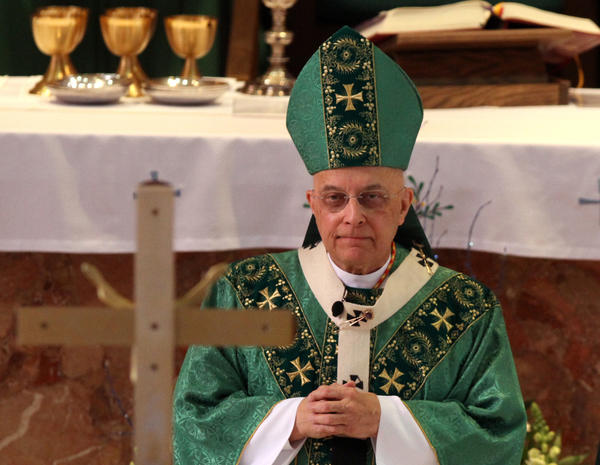 Cardinal Francis George celebrated mass at St. Linus Church, the day before his 75th birthday, in January of this year.