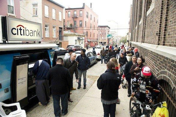 Citibank on Friday provided mobile fee-free ATM services to residents of Hoboken, N.J. The area was hard hit by Hurricane Sandy, and many residents were still without power.