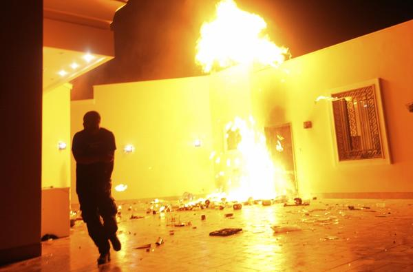 The U.S. consulate in Benghazi is seen in flames during the attack by militants on Sept. 11.