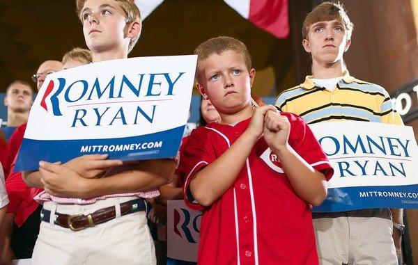 Young supporters of Republican presidential candidate Mitt Romney join a campaign rally in September at Cincinnati's Union Terminal.