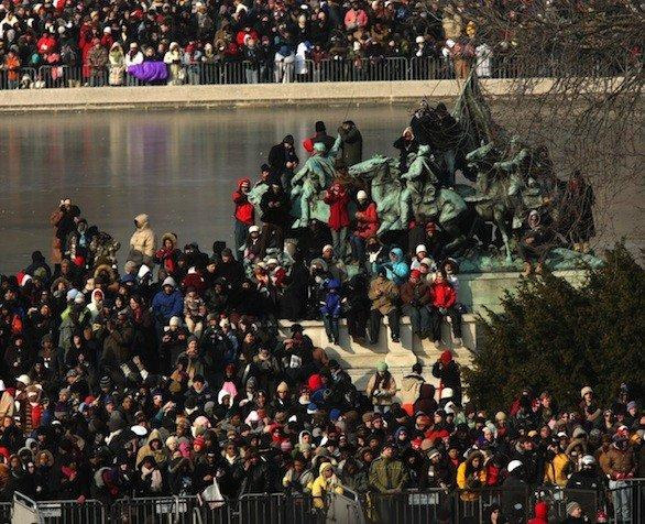 Crowds swarm the National Mall waiting for the presidential inauguration on Jan. 20, 2009.