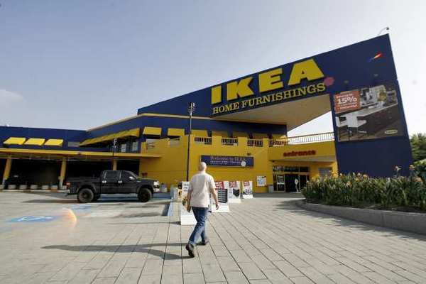 A shopper goes into the IKEA store on San Fernando Road store in Burbank.