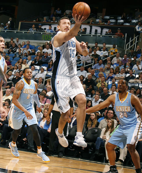 Orlando forward Hedo Turkoglu scores during the Denver Nuggets at Orlando Magic NBA game at the Amway Center on Friday, November 2, 2012.