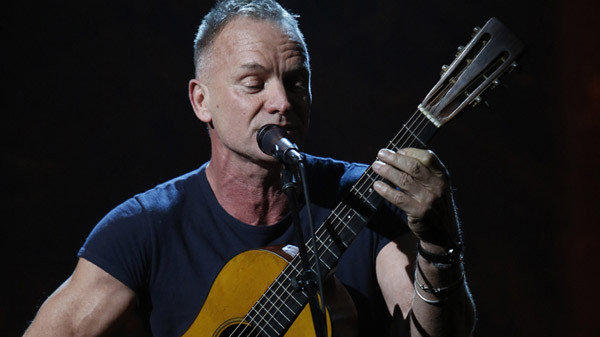"Sting performs during ""Hurricane Sandy: Coming Together"" on Friday night."