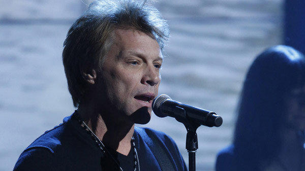 "Jon Bon Jovi performs during the ""Hurricane Sandy: Coming Together"" benefit concert on Friday night."