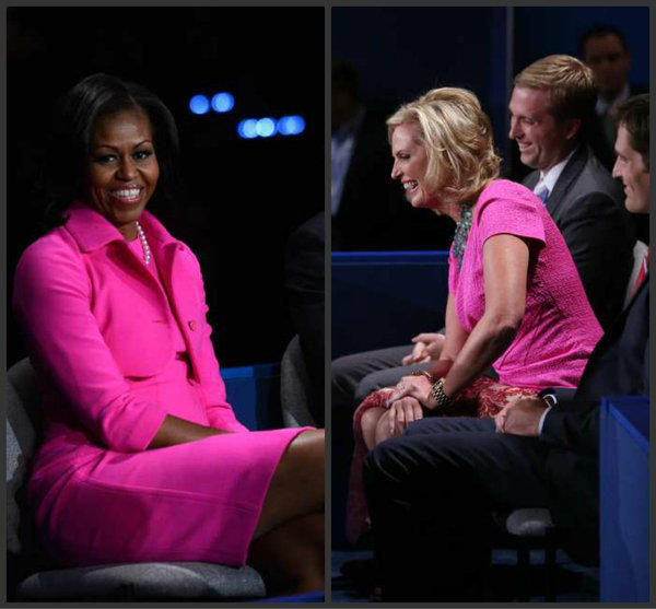 Michelle Obama, left, and Ann Romney both wore bright pink at the second presidential debate.