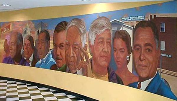 The financially troubled Broadway Federal Bank recently had seven repossessed churches on its books. Above, a mural at the bank's Exposition Park branch.