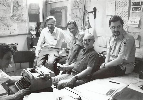 This 1972 photo shows once and future chiefs of the Associated Press' Saigon bureau: from left, George Esper (1973-75), Malcolm Browne (1961-64), George McArthur (1968-69), Edwin Q. White (1965-67) and Richard Pyle (1970-73).