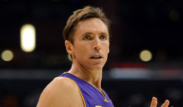 Lakers guard Steve Nash looks for a pass during a 97-91 loss to the Clippers in the preseason on Oct. 24, 2012.