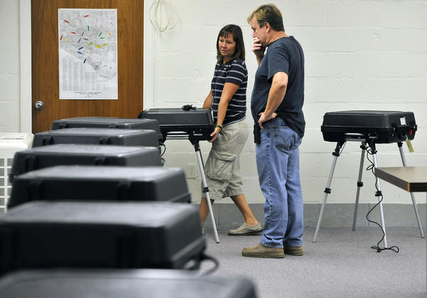 These voting machines may be among the few places where you can get some peace and quiet this election season, Jean Marbella.