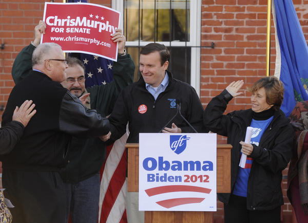 A rally for U.S. Senate candidate Democrat Chris Murphy at the Hartford Federation of Teachers building Saturday morning.