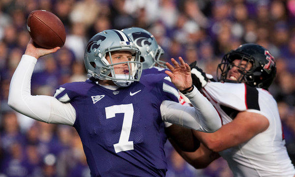 Kansas State quarterback Collin Klein unloads a pass against Texas Tech during a 55-24 victory last week.