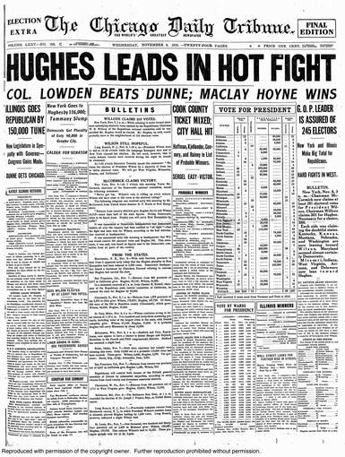 "1916: HUGHES LEADS IN HOT FIGHT: Wilson, seeking re-election on a peace platform against Republican challenger and former U.S. Supreme Court Justice Charles Evans Hughes, appeared to be losing badly on election night when the newspaper printed. Hughes had built up an impressive 248-210 electoral vote lead, according to the Nov. 8 Tribune, which bore the judicious headline: ""HUGHES LEADS IN HOT FIGHT."" A number of other newspapers reportedly declared Hughes the victor that night. As we all know, Wilson eked out the victory, capturing nearly all of the outstanding states. The Tribune's headline the next day was: ""WILSON HOLDS HIS LEAD."" Besides the traditional, all-caps banner headline, the report included a prominent BULLETINS box that carried news from around the country. Making his debut this year was Arthur Sears Henning, who wrote the lead story and would become the dean of Washington bureau chiefs."