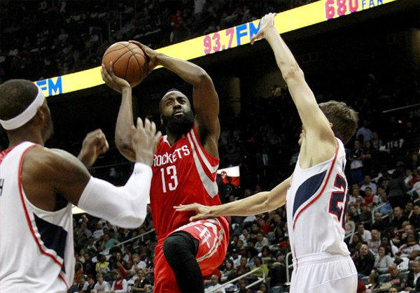 James Harden is averaging 26.7 points a game, only second to league leader Kobe Bryant's 26.9 points.