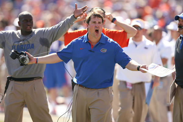 Florida head coach Will Muschamp screams during the University of Missouri Tigers at the University of Florida Gators football game at Ben Hill Griffin Stadium in Gainesville on Saturday, November 3, 2012.