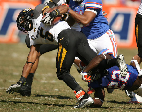 Mizzou tailback Marcus Murphy is stopped during the University of Missouri Tigers at the University of Florida Gators football game at Ben Hill Griffin Stadium in Gainesville on Saturday, November 3, 2012.
