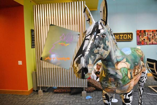 Muler the Mule is in the Art Ways Gallery during Allentown Art Museum's Family Festival Sunday.
