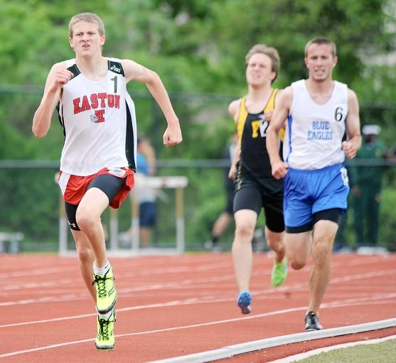 Athletes compete on the final day of the combined Lehigh Valley Conference, Colonial League track championships at Whitehall High School on Wednesday, May 9. Here, Easton's Colin Abert wins the LVC 1600 meter race.