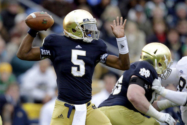 Everett Golson threw for 227 yards and two touchdowns and rushed for another 74 yards and a score.