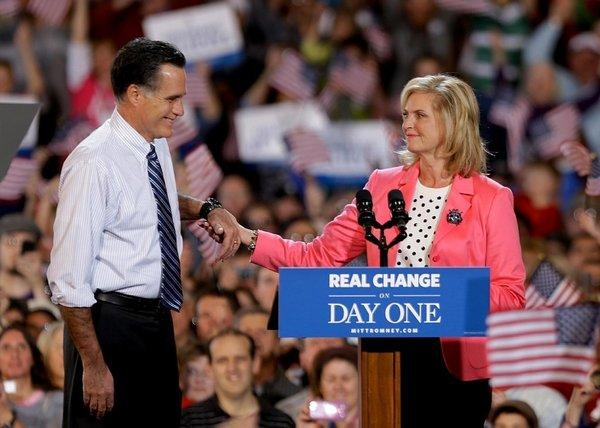 Ann Romney introduces her husband, GOP presidential nominee Mitt Romney, in Colorado Springs, Colo.