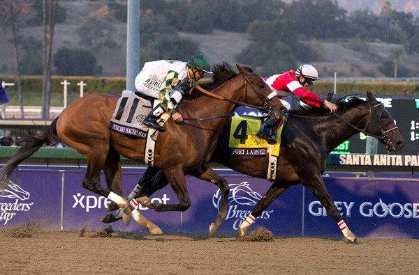Fort Larned and jockey Brian Hernandez holds off Mucho Macho Man with Mike Smith aboard to win the Breeders' Cup Classic on Saturday evening at Santa Anita.