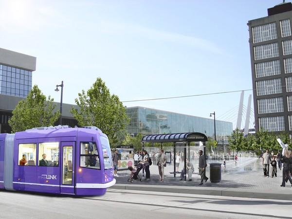 An artist's rendering of a streetcar in downtown Milwaukee.