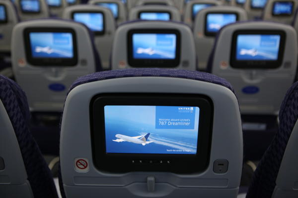 A look at the upgraded video screens featured on the back of the new Boeing 787 Dreamliner aircraft just before its takeoff from Houston to Chicago on Sunday.