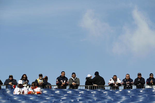 Chicago Bears fans watch pre-game warmups before a game against the Tennessee Titans at LP Field in Nashville, Tenn. on Sunday.