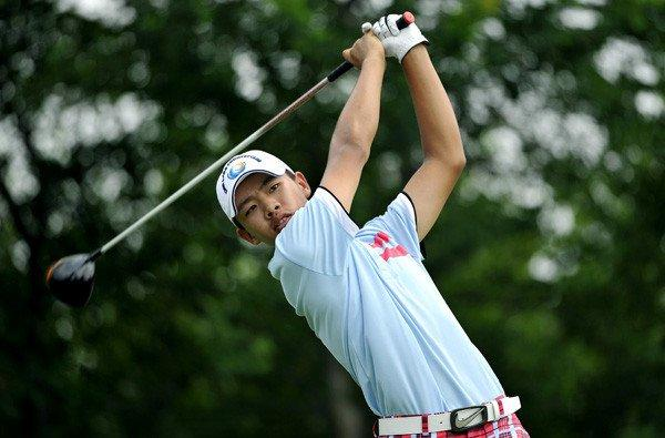 Guan Tianlang tees off during the final round of the Asia-Pacific Championship.