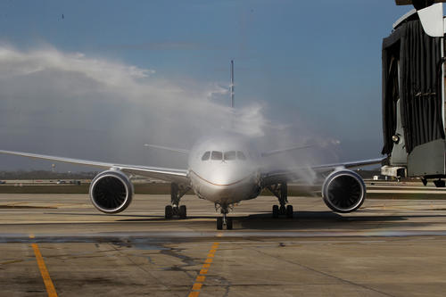 The United Airlines Dreamliner 787 completes its inaugural flight from Houston to Chicago on Sunday. Upon landing at O'Hare Airport, it was greeted with a ceremonial shower of water from two fire trucks.