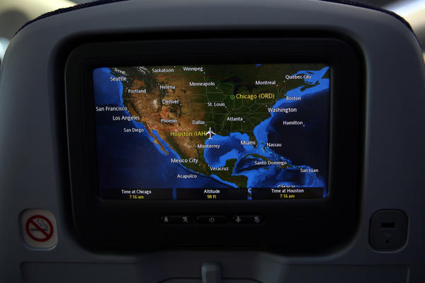 The map showing the flight path on the seat back entertainment system during United Airlines' inaugural flight of the Boeing 787 Dreamliner aircraft on Sunday. The plane traveled from Houston, Texas to Chicago, Illinois.