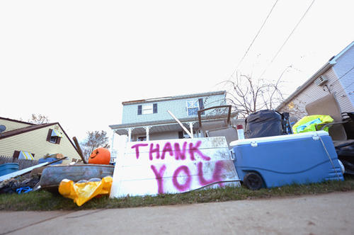 A 'Thank You' sign stands outside a house devastated by Superstorm Sandy on Nov. 2 in Union Beach, N.J.