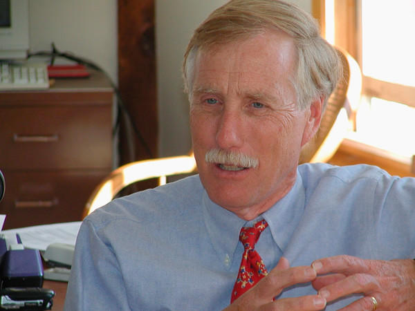 Independent candidate Angus King (pictured) looked to be the clear favorite to take over for Olympia Snowe, but a series of negative ads has made an upset by Republican Charlie Summers a definite possibility.