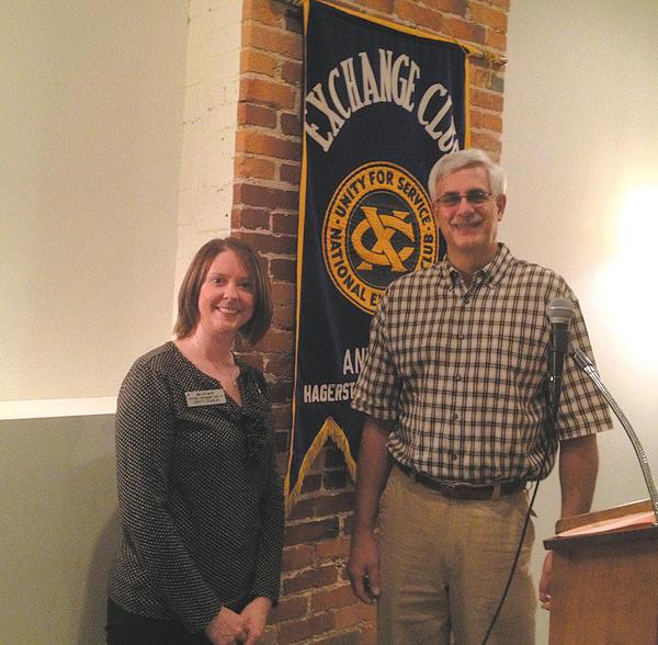 The Oct. 16 meeting of the Antietam Exchange Club welcomed mid-Atlantic President Kristy Douglas,left. Standing with her is Antietam Exchange Club President Steve Bittner.