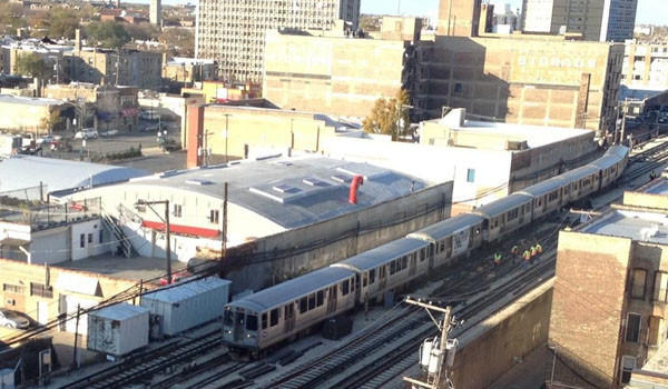 A train that derailed north of the Granville station on the Red Line this afternoon.