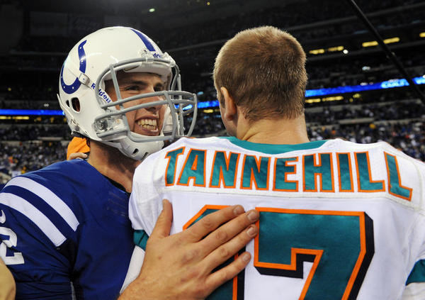 Andrew Luck of the Indianapolis Colts greets Ryan Tannehill after the game. The Colts defeated the Dolphins 23-20.