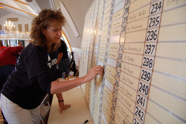 United Way of Franklin County volunteer Pam Anderson keeps track of names called in drawings Sunday at the the organization's Community Bonanza in Greencastle, Pa.
