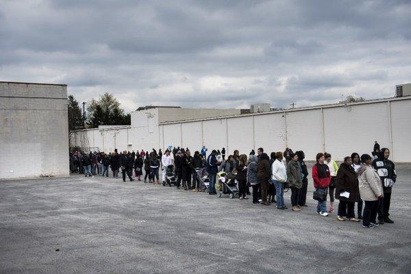 Columbus, Ohio, residents lining up to vote Sunday.