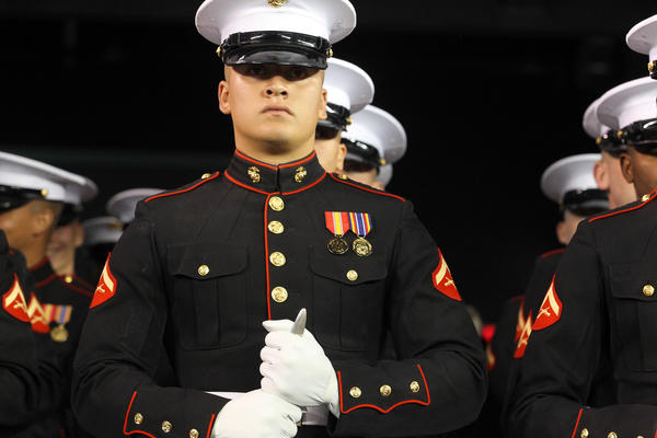 East Rutherford, NJ, USA; The US Marine Crop silent drill platoon prepares to perform before halftime of the game between the Pittsburgh Steelers and New York Giants at MetLife Stadium.