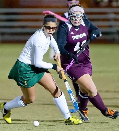 Emmaus' Teresa Carotenuto (left) controls the ball in front of Stroudsburg's Nicole DeLuca.