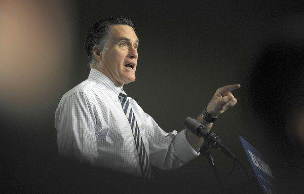 Republican presidential candidate Mitt Romney addresses supporters in Des Moines.