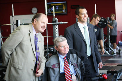 U.S. Sen. Tim Johnson, D-S.D., toured many of Northern State University¿s new renovations, including the Barnett Center, the university¿s physical education center and event arena on Oct. 15. The improvements at the Barnett Center include a new weight room and fitness area, locker rooms and a new wrestling room. From left are NSU president Jim Smith, Johnson and NSU athletic director Josh Moon.