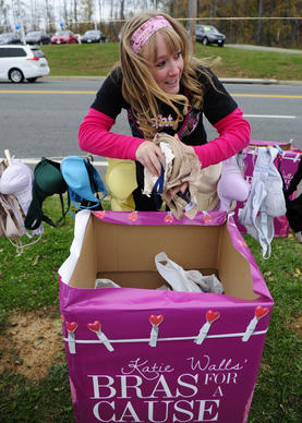 Katie Walls grabs another handful of bras to hang on the line during the Bras for a Cause event at Plaza Ford Saturday.